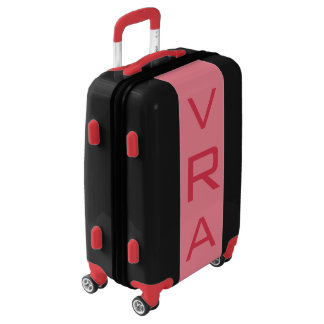 SMALL Black + Light Red Monogram Carry On Luggage