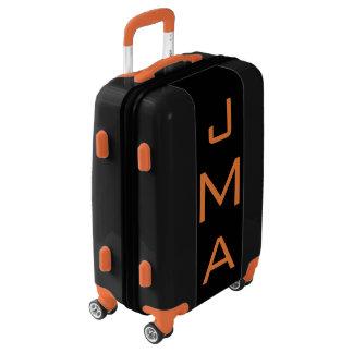 SMALL Black+Orange Personalized Monogram Carry On Luggage