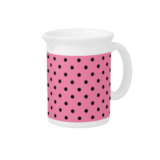 Small Black Polka Dots on hot pink Beverage Pitchers