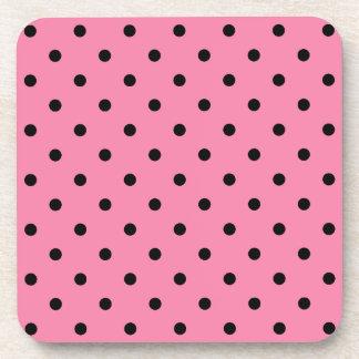 Small Black Polka Dots on hot pink Coaster