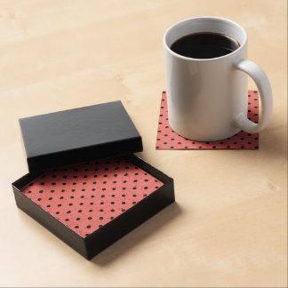 Small Black Polka Dots on hot pink Coasters