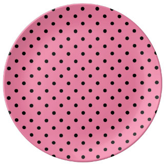 Small Black Polka Dots on hot pink Porcelain Plates