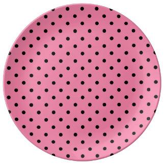 Small Black Polka Dots on hot pink Porcelain Plates