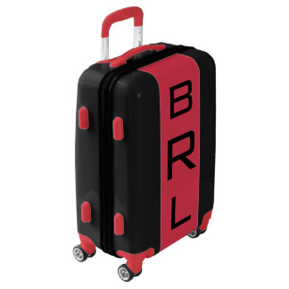 SMALL Black + Red Monogrammed Carry On Luggage