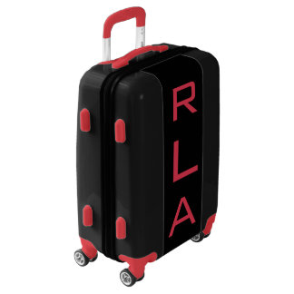 SMALL Black + Red Personalized Monogram Carry On Luggage