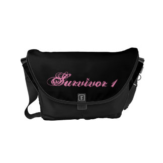 Small Black Survivor 1 Messenger Bag With Pink Tex