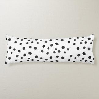 Small Black Watercolor Abstract Polka Dots Body Cushion