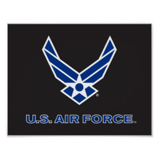 Small Blue Air Force Logo & Name Poster