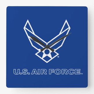 Small Blue Air Force Logo with Outline Wall Clocks