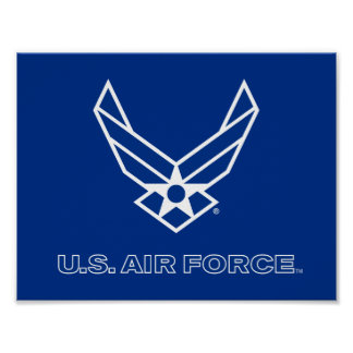 Small Blue Air Force Logo with Outline Poster