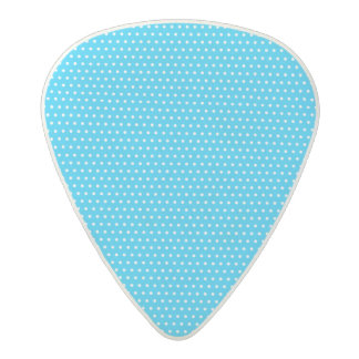 Small blue and white polka dot pattern acetal guitar pick