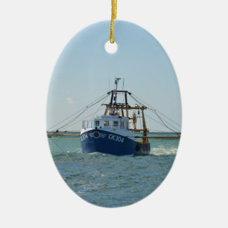 Small Blue Fishing Boat Ceramic Oval Decoration