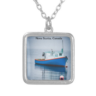 Small Blue Fishing Boat Square Pendant Necklace
