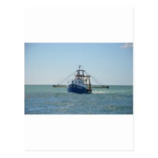 Small Blue Fishing Boat Postcard