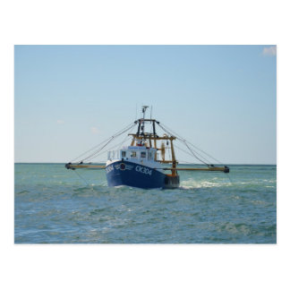 Small Blue Fishing Boat Postcard