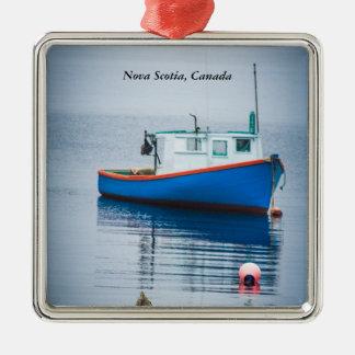 Small Blue Fishing Boat Silver-Colored Square Decoration