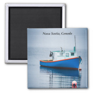 Small Blue Fishing Boat Square Magnet