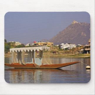 Small boat, Lake Pichola, Udaipur, India. Mousepad