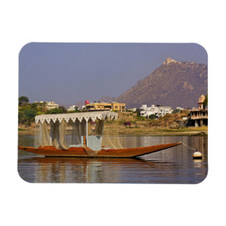 Small boat, Lake Pichola, Udaipur, India. Rectangular Photo Magnet