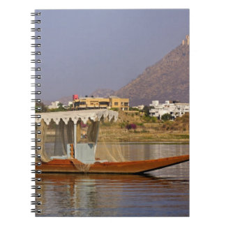 Small boat, Lake Pichola, Udaipur, India. Spiral Notebook