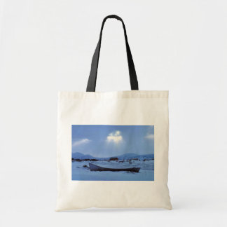 Small Boat on Shore Canvas Bag