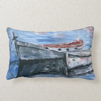 Small Boats Ready For The Adventure Lumbar Pillow