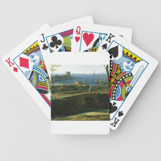 small bridge over looking sea bicycle playing cards