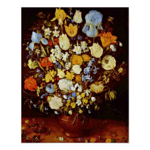 Small bunch of flowers by Jan Brueghel the Elder Poster