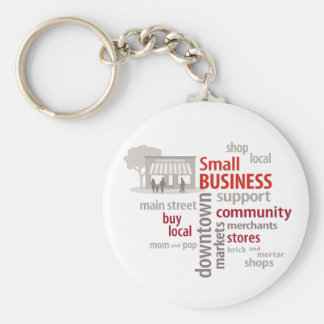 Small Business, Shop Local, Buy Local Basic Round Button Keychain