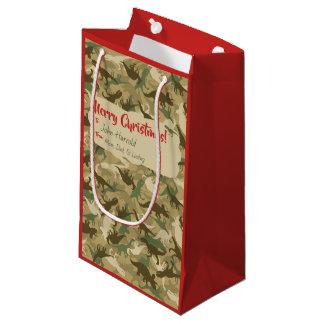 Small Camouflage Dinosaur Christmas Gift Bag