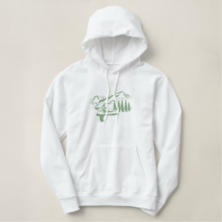 Small Canoe Scene Embroidered Hooded Sweatshirts