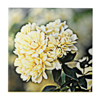 """Small  Ceramic Tile """"Yellow Flower Clusters"""""""