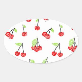 Small cherries oval sticker