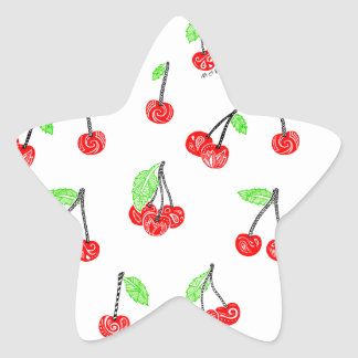 Small cherries star sticker