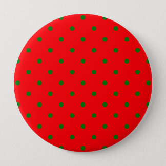 Small Christmas Green Polka dots on Red 10 Cm Round Badge