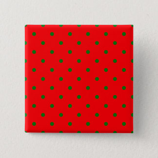 Small Christmas Green Polka dots on Red 15 Cm Square Badge