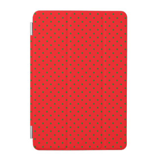 Small Christmas Green Polka dots on Red iPad Mini Cover