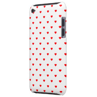 Small Christmas Red Polka Dot Hearts On Snow White iPod Touch Case