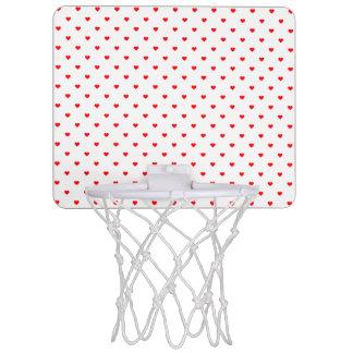 Small Christmas Red Polka Dot Hearts On Snow White Mini Basketball Hoop
