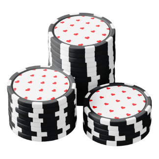 Small Christmas Red Polka Dot Hearts On Snow White Poker Chips