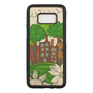 Small City Illustration Carved Samsung Galaxy S8 Case