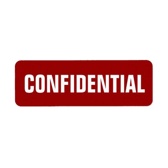 Small Confidential Stickers