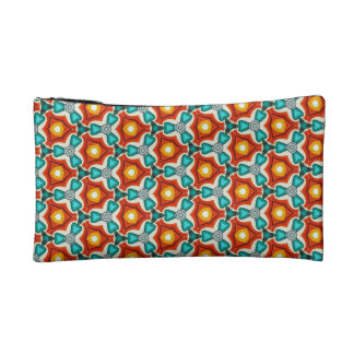 Small Cosmetic Bag in Teal & Orange