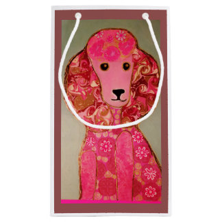 Small Custom Gift Bag with Pink Poodle Dog