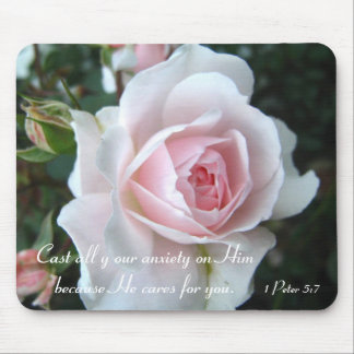 Small delicate pink rose mouse pad
