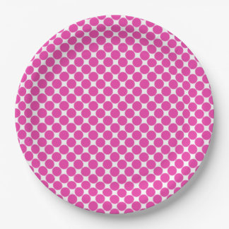 Small Diva Pink Polka Dots on White 9 Inch Paper Plate