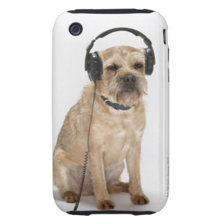 Small dog wearing headphones tough iPhone 3 case
