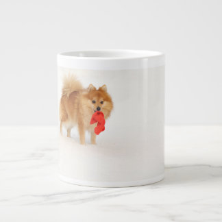 Small dog with Santa's hat and white snow Large Coffee Mug