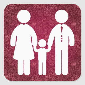 Small Family Minimal Square Sticker