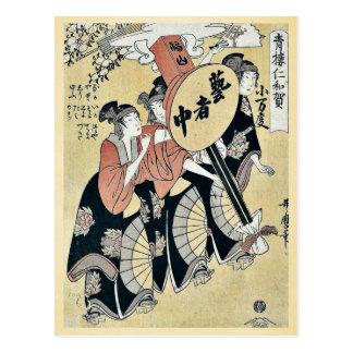 Small festival lantern by Kitagawa, Utamaro Ukiyo Postcard